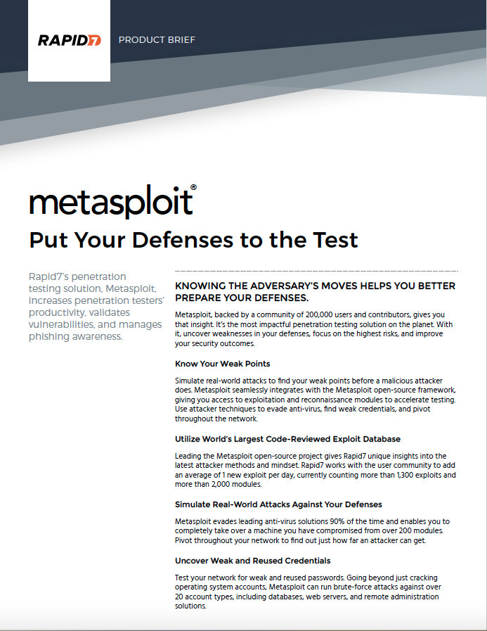 Metasploit product brief