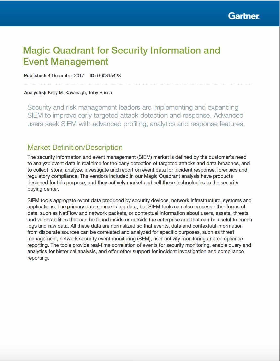 Gartner Magic Quadrant for SIEM 2017