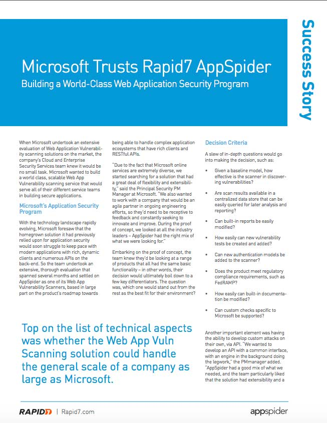 Rapid7 Appspider Microsoft Case Study
