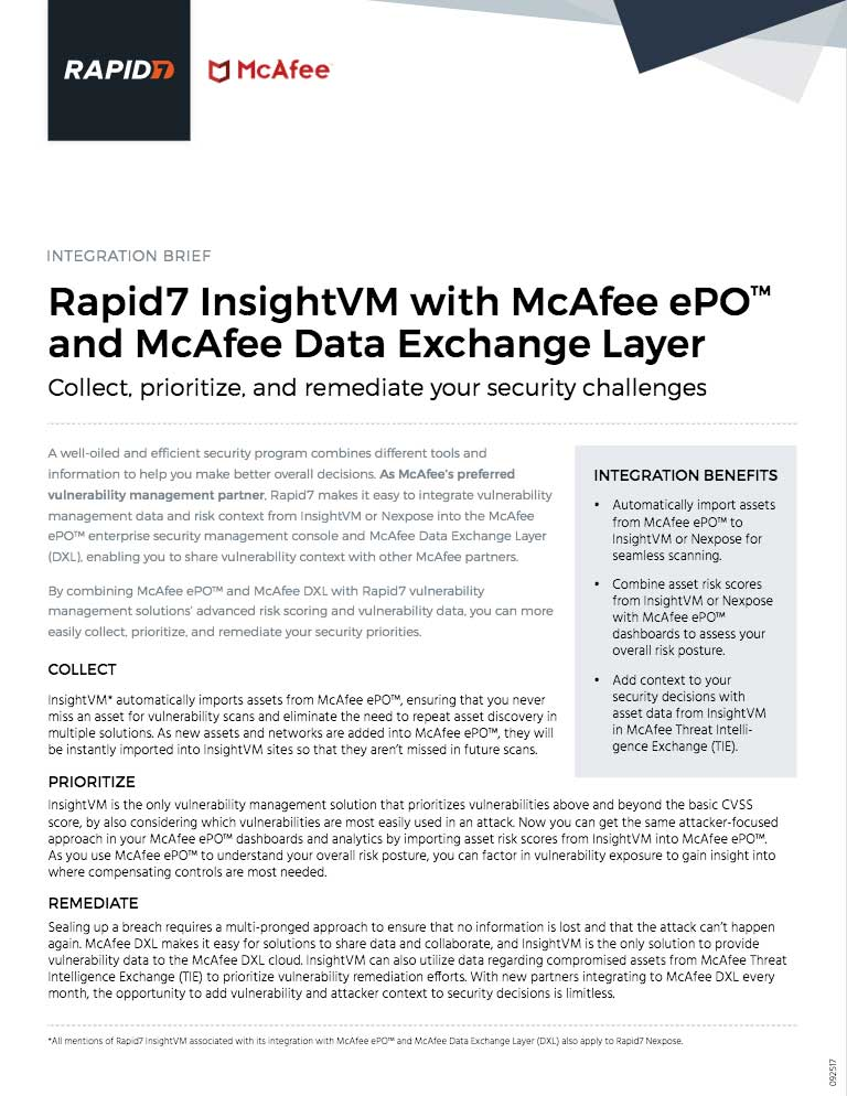 Integration Brief: InsightVM and McAfee ePO and DXL