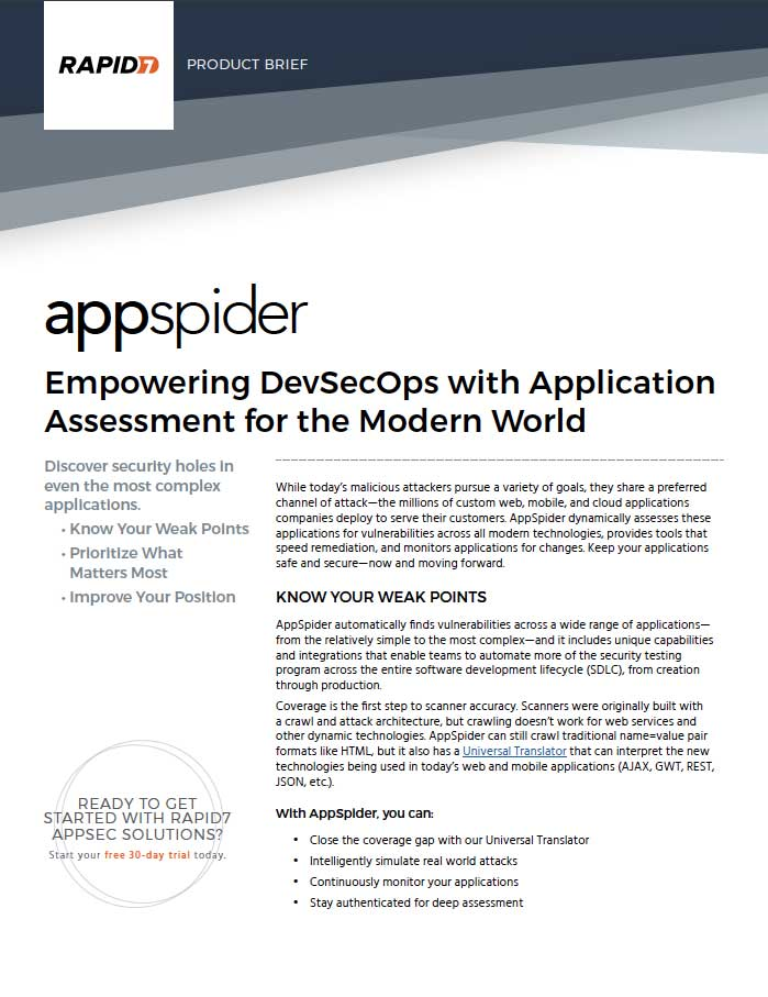 AppSpider product brief