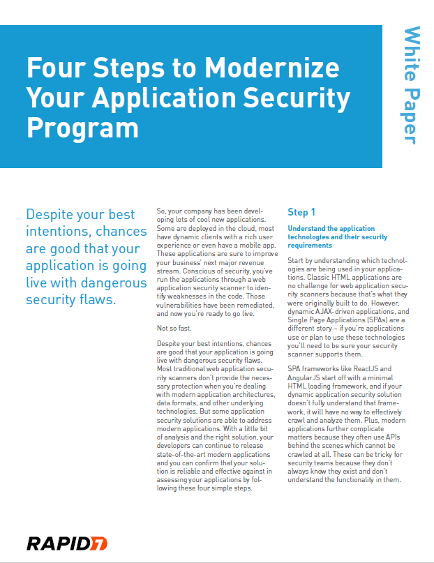 Whitepaper: Four Steps to Modernize Your Application Security Program